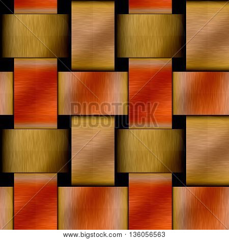 Abstract seamless metal pattern of brushed intertwined gold rods. Gold, red and yellow grooved metal pattern of braided intertwined structure