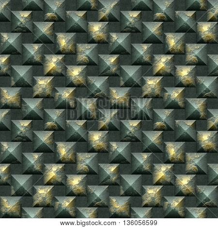 Seamless mosaic 3d pattern of scratched gold and green pyramidal blocks. Abstract generated tiled background of green and gold grained brushed beveled cubes