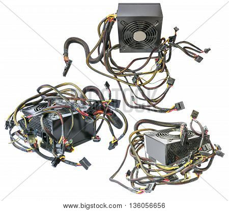 Computer power device supply unit perspective with wires isolated on white.