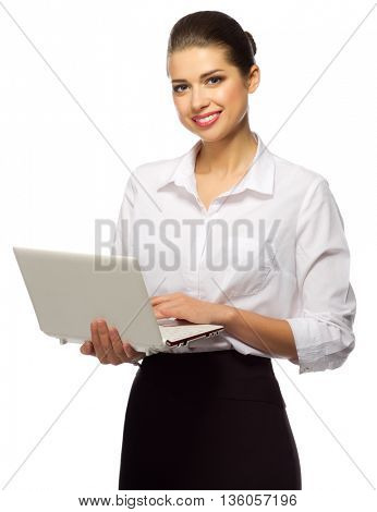 Young businesswoman with laptop isolated