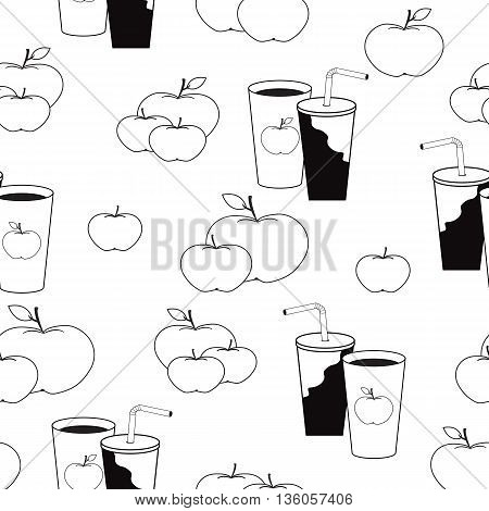 Nice pattern with apples and cups of juice in black and white colors