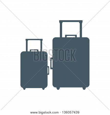 Stylized icon of colored suitcases on a white background