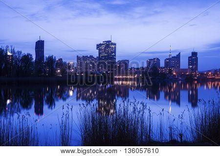 Skyline of Donau City - Vienna DC. Vienna Austria.