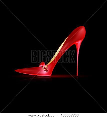 dark background and the red ladys shoe