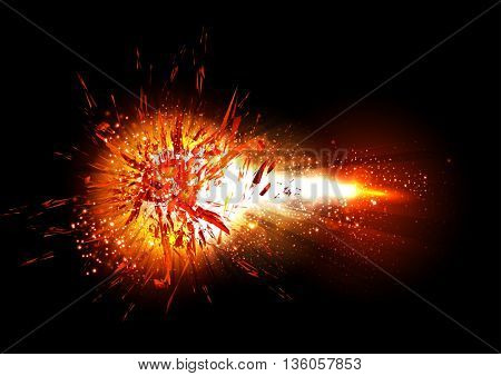 Abstract explosion light shine fire bomb effect