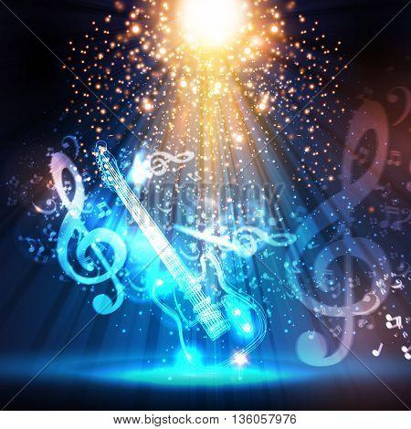 guitar, stage, light, spotlight, illustration easy all editable