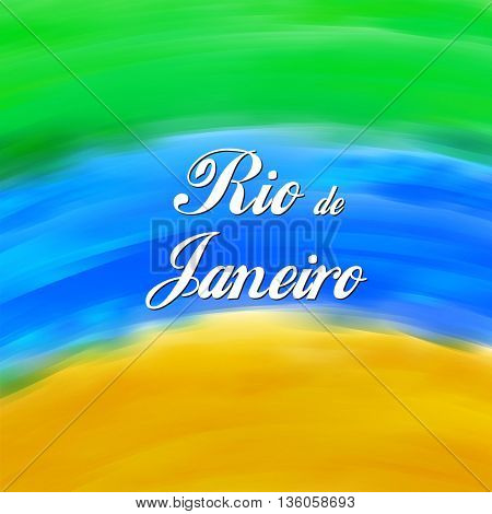 Rio de Janeiro Brazil background watercolor colors Brazilian flag easy all editable