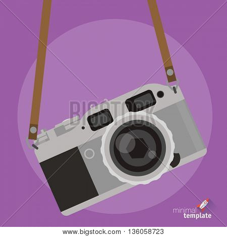 Photo camera flt design interface icon. Retro camera icon for interface, application and web design. Vintage photo camera with strap, flat design icon mock up for photo gallery, image collection.