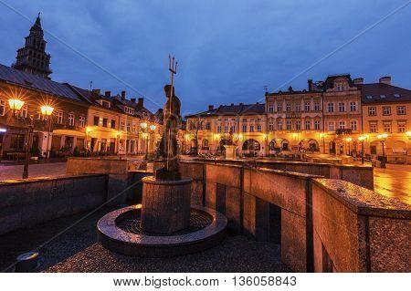Neptun Fountain on Main Square in Bielsko-Biala. Bielsko-Biala Silesia Poland.