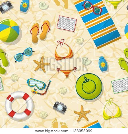 Seamless pattern with summer accessories on beach