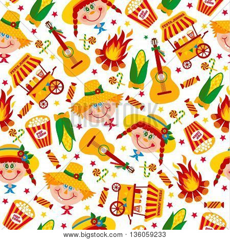 Seamless Pattern Of Festa Junina Village Festival In Latin America. Icons Set In Bright Color.