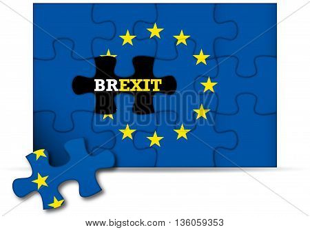Brexit - European Union flag puzzle incomplete - 3D rendering