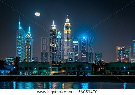 Amazing Night Reflection Of Jumeirah Beach, Dubai, United Arab Emirates