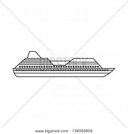 Cruise liner icon in outline style isolated on white background
