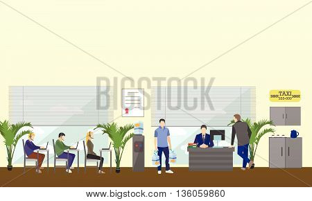 Call center interior vector banner. Customer service and support company concept. People work in call center. Man and woman in headsets.