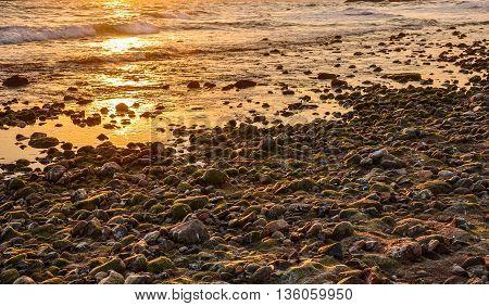 Gravel beach aglow with the setting sun. Horizontal.