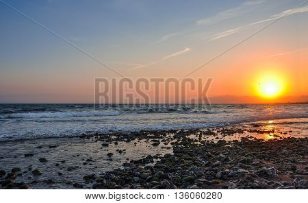 Scenic view of coastline at sunset. Cambrils Spain. Horizontal.