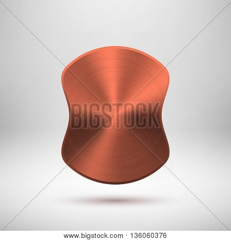Bronze abstract badge, blank button template with metal texture, chrome, silver, steel, copper, rust and realistic shadow for logo, design concepts, prints, web. Vector illustration.