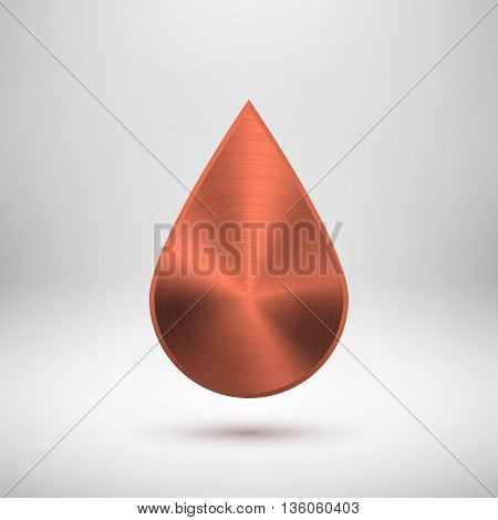 Bronze abstract drop badge, blank button template with metal texture, chrome, silver, steel, copper and realistic shadow for logo, design concepts, web, applications, apps, UI. Vector illustration.