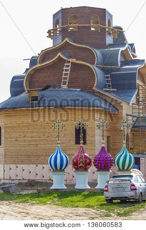 The town of Berdsk in Novosibirsk oblast Siberia Russia - June 25 2016: the Construction of an Orthodox Church of the Epiphany wood