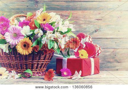 Vintage Gerbera Flowers In Basket