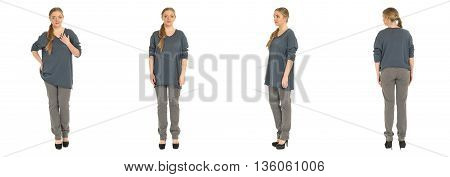 Blonde Plus Size Woman Posing In Jeans For A Fashion Editorial