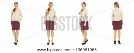 Blonde Plus Size Woman Posing In Skirt For A Fashion Editorial