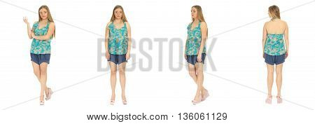 Blonde Plus Size Woman Posing In Shorts For A Fashion Editorial