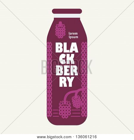 Bottle of juice, sugar water, tea or cocktail with drawing blackberry. Retro texture on the background. Concept design for juice or cocktail.