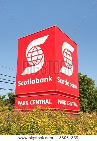 BURNSIDE CANADA - JUNE 26 2016: The Bank of Nova Scotia or Scotiabank is Canada's third largest bank in terms of market capital and deposits.