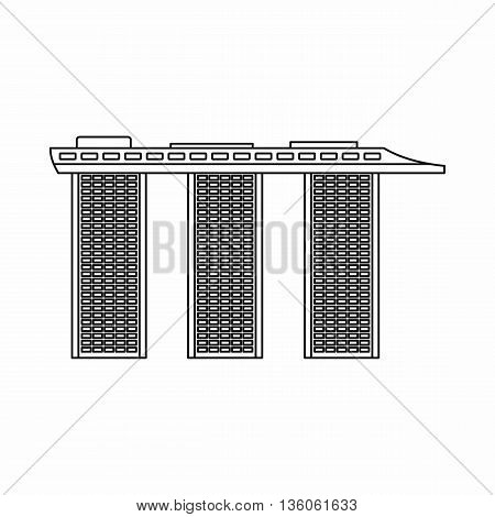 Marina Bay Sands Hotel, Singapore icon in outline style isolated on white background