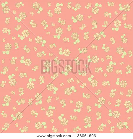 tiny floral pattern on pink background Vector image.