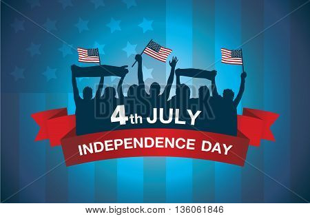 Logo celebrate 4 July independence day of American on national flag background. Group people waving flags and gambol in silhouette style.