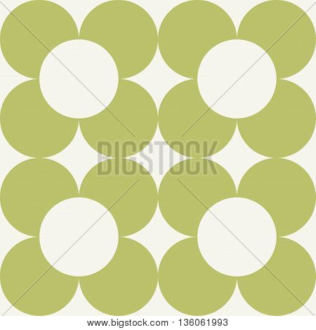 Vector seamless pattern. Modern stylish texture. Repeating geometric background with round flowers.