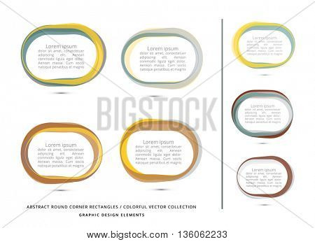 vector, rectangle with round corners frame collection, metallic colors