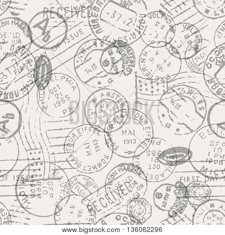 Vector retro postage stamp on gray background
