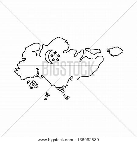 Map of Singapore with flag icon in outline style isolated on white background