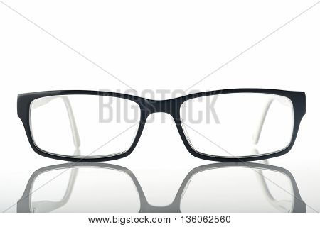 Front View of Eyeglasses on White Background