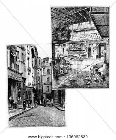 Pirouette Street in Paris, France. Vintage engraving.