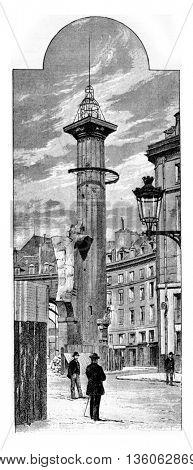 Tower Ruggieri after the demolition of the Halles Market in Paris, France. Vintage engraving.