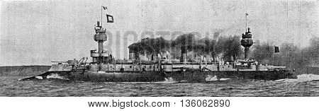 Dupuy de Lome, cruiser armor running 20 knots, vintage engraved illustration. Industrial encyclopedia E.-O. Lami - 1875.