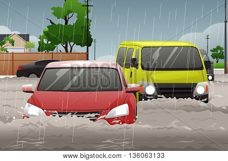 A vector illustration of car trying to drive against flood on the street