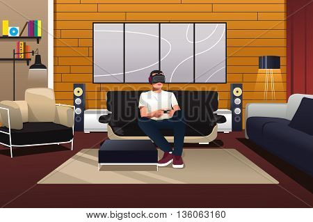 A vector illustration of man playing with virtual reality headset in the living room