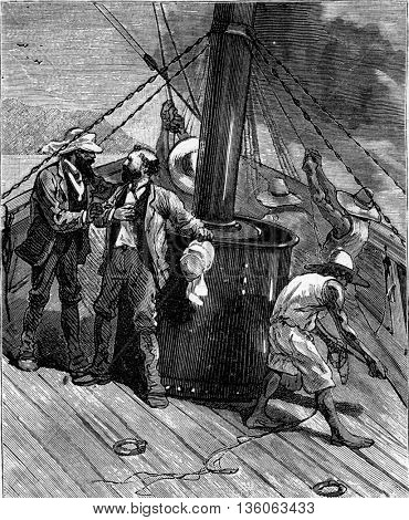 Six thousand miles through South America. Men aboard the Scotia. From Travel Diaries, vintage engraving, 1884-85.