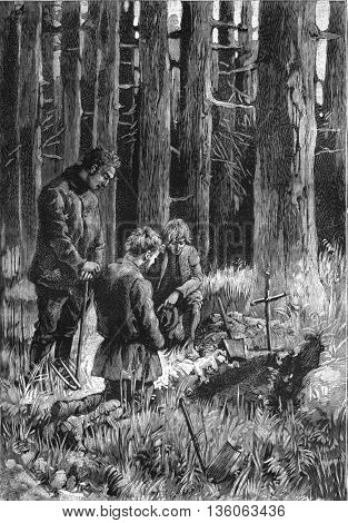 A burial in the forest. From Jules Verne Cesar Cascabel, vintage engraving, 1890.
