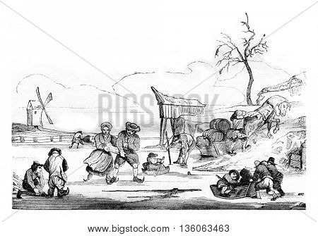 Dutch skaters of after Isaac Ostade, Museum of the Louvre, vintage engraved illustration. Magasin Pittoresque 1836.