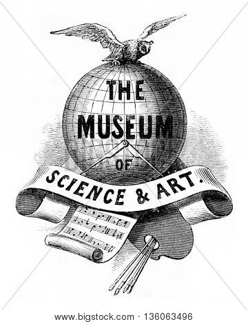 Title Page of the Book, The Museum of Science and Art. Edited by Dionysius Lardner. From Lardner Museum Book, vintage engraving, 1880.