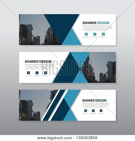 Blue black triangle abstract corporate business banner template horizontal advertising business banner layout template flat design set clean abstract cover header background for website design