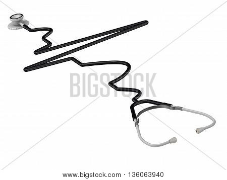 The phonendoscope stylized as electrocardiogram. Isolated. 3D Illustration