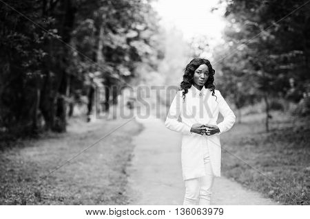 Portrait Of Stylish Black African American Girl Stay On Path On Green Park